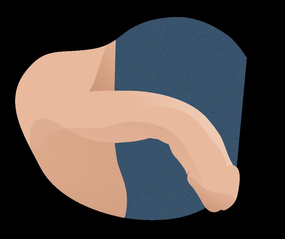 curva de pene hacia abajo